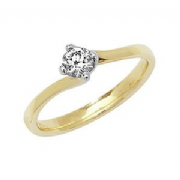 9ct Gold 0.25ct Solitaire Diamond Ring Four Claw twist syle mount
